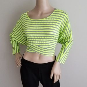 Tops - STRIPED GRAY AND NEON GREEN CROP TOP SIZE SMALL